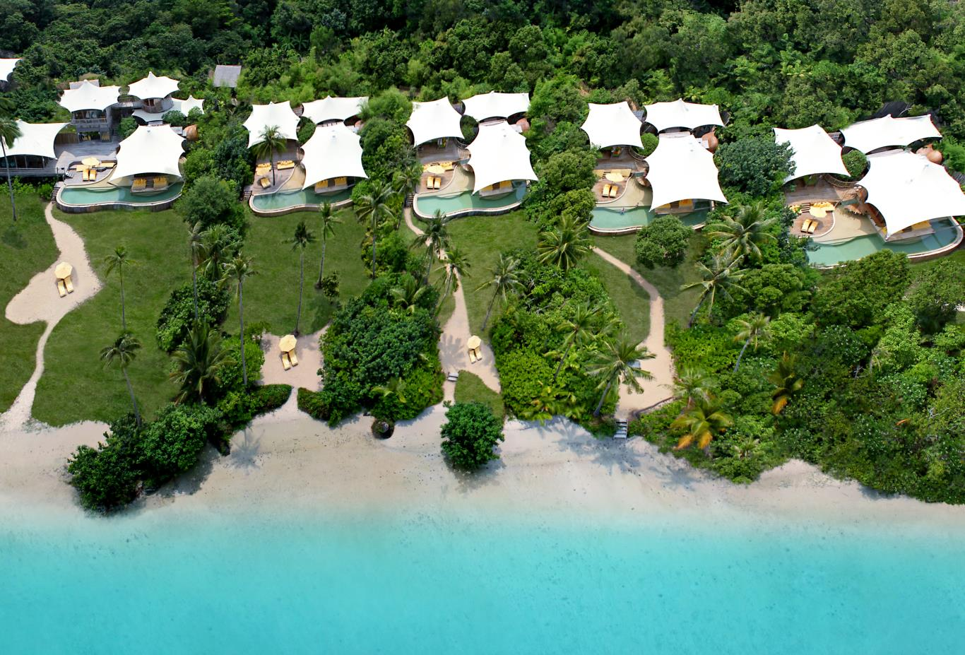 Aerial view of villas at Soneva Kiri luxury resort on Koh Kood, Thailand