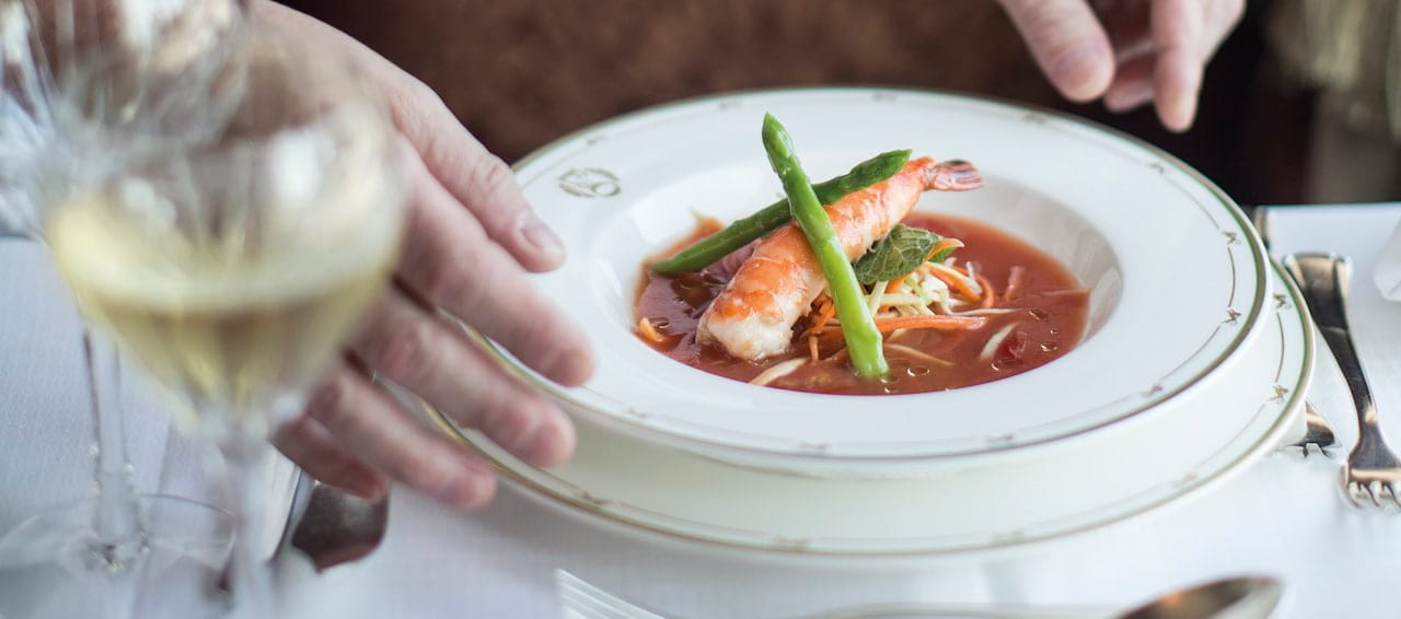 Dining aboard the Eastern & Orient Express luxury train