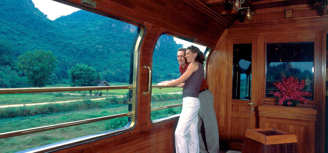Eastern Orient Express luxury train viewing lounge with mountains