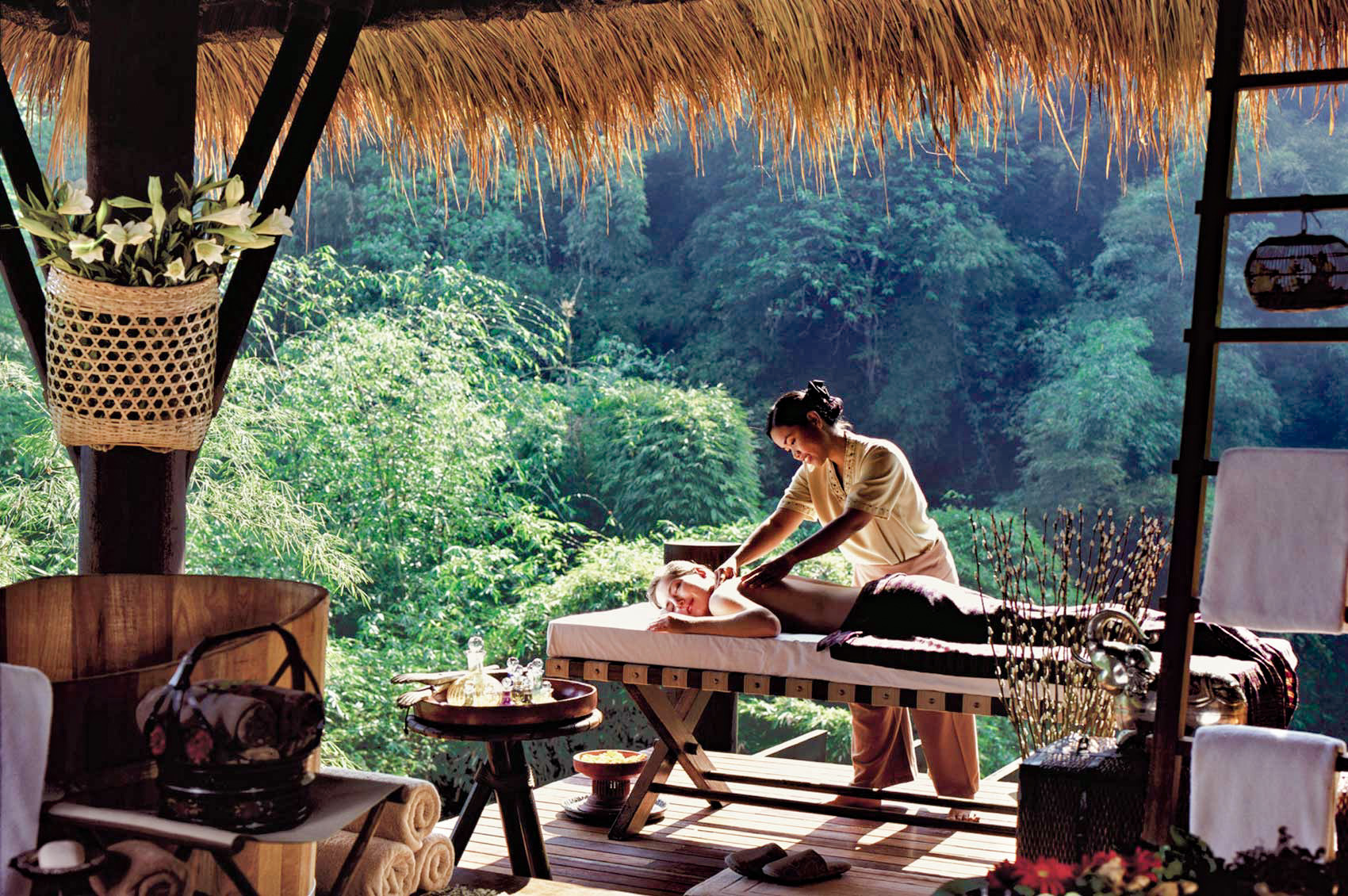 Spa massage at the Four Season's luxury tented camp in the Golden Triangle, Thailand