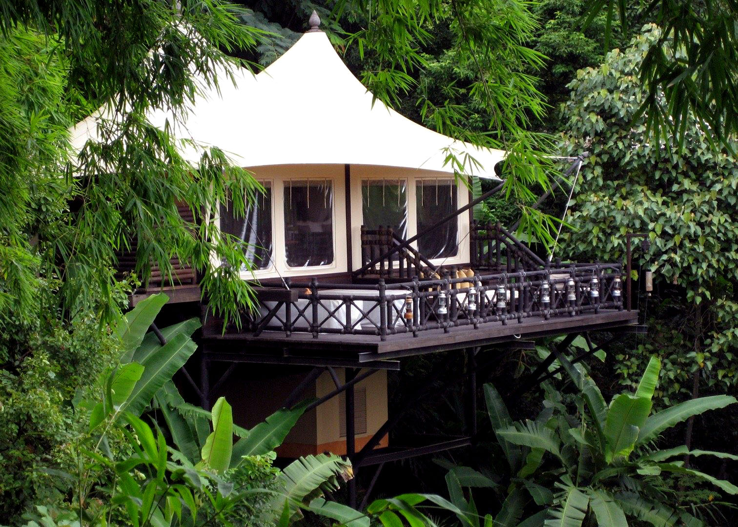 Tent bungalow at Four Season's Tented Camp in the Golden Triangle, Thailand