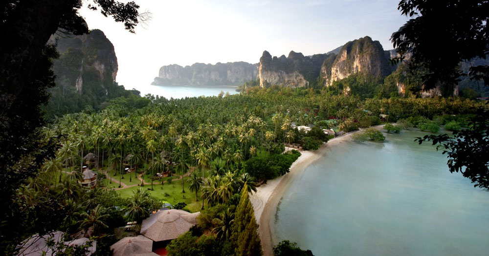Aerial photo of Rayavadee resort in Krabi, Thailand