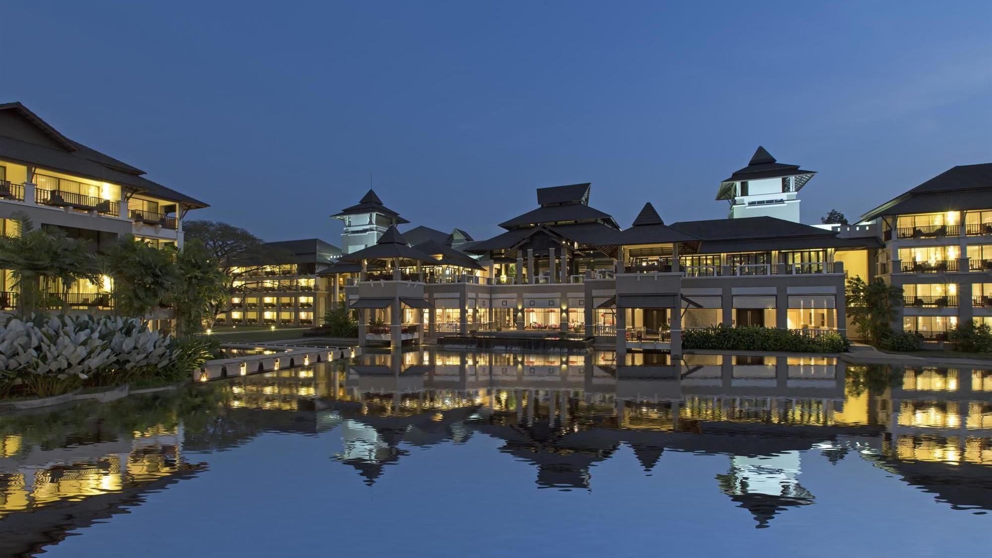 Exterior and pond  at Le Meridein hotel in Chiang Rai, Thailand