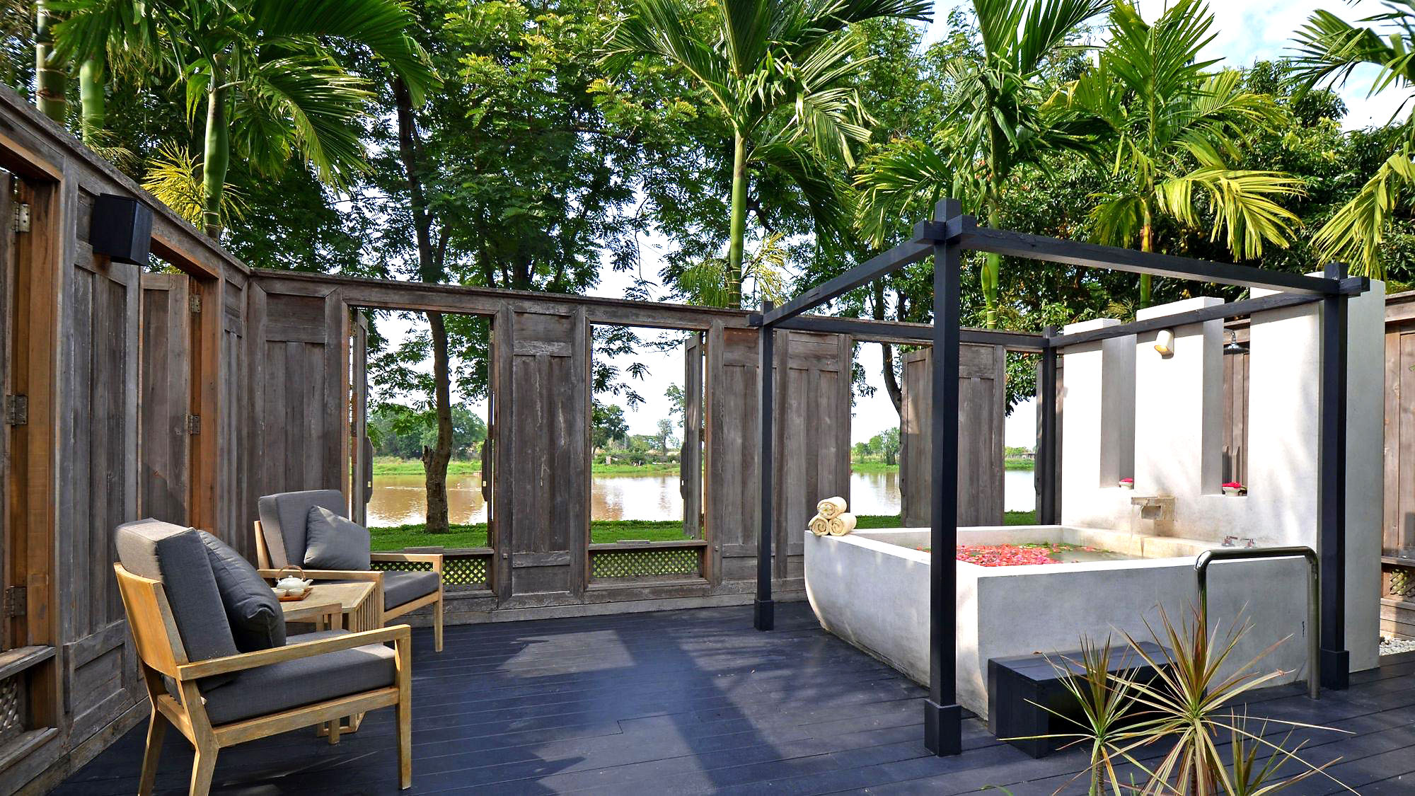 Terrace at Le Meridein hotel in Chiang Rai, Thailand