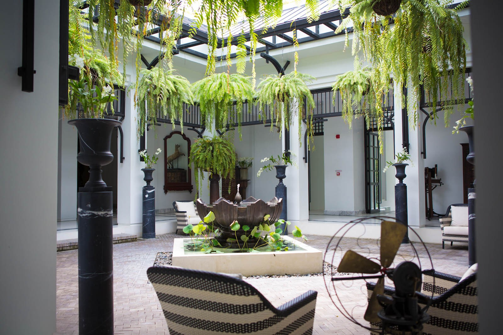 Courtyard at the Siam Hotel in Bangkok, Thailand