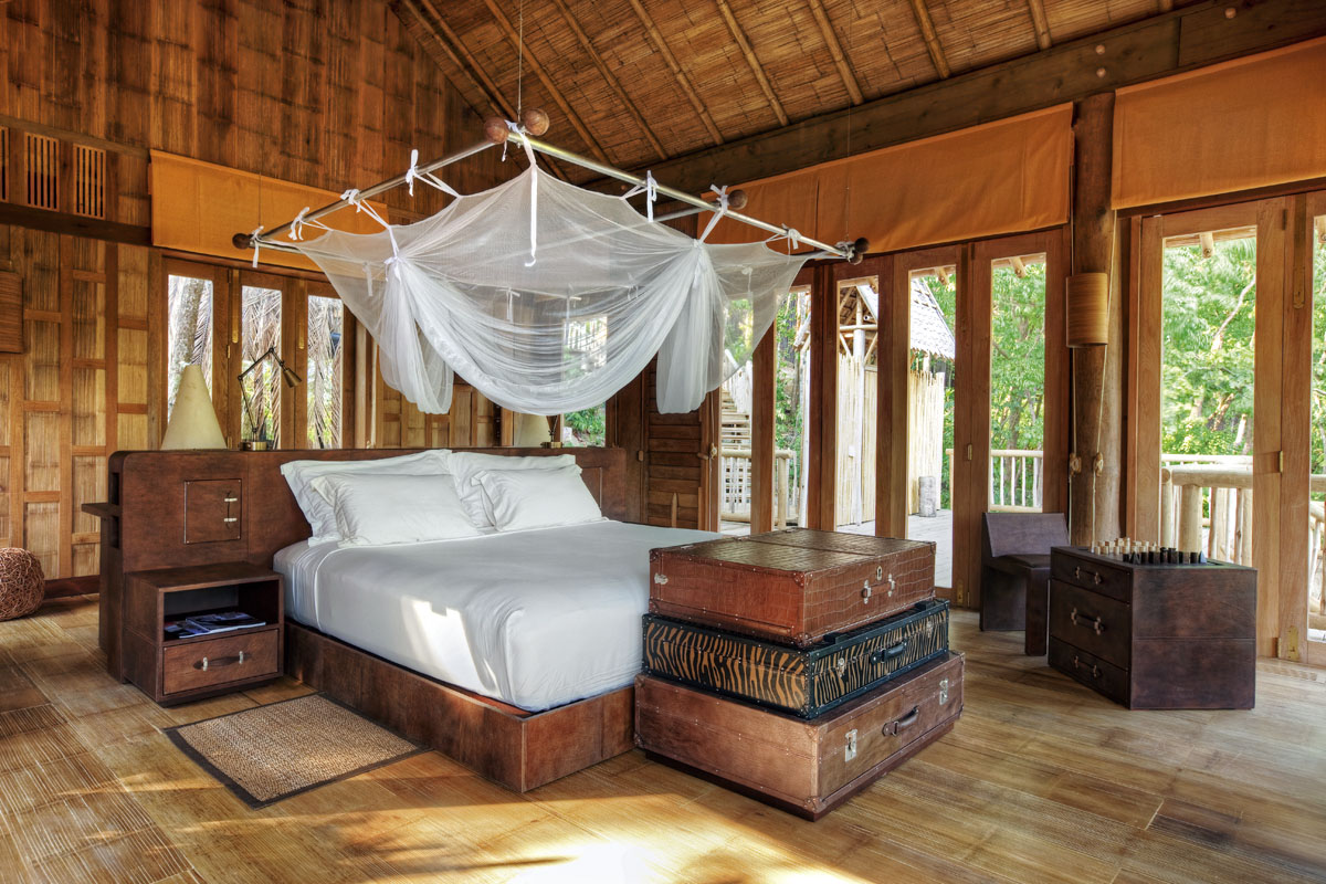 Bedroom at the Soneva Kiri luxury resort on Koh Kood, Thailand