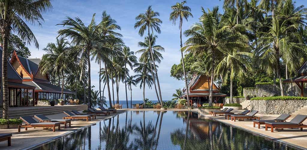 Pool area at the Amanpuri in Phuket, Thailand
