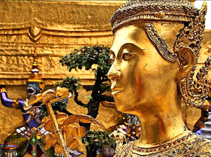 Gilded statue at Bangkok's Royal Palace