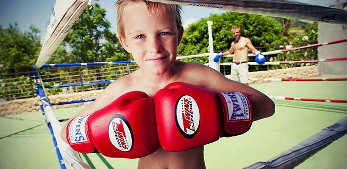 Children's kick boxing class in Thailand