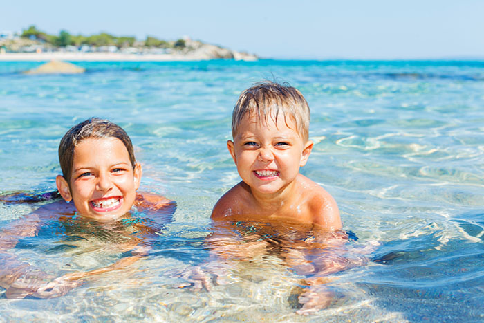 Kids in Thailand resort ocean