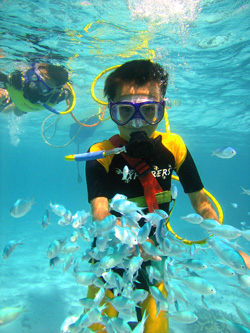 Snuba diving on family holiday in Phuket
