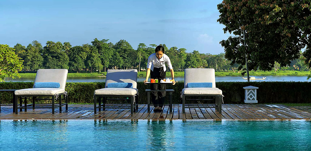Pool service at La Residence Hotel in Vietnam
