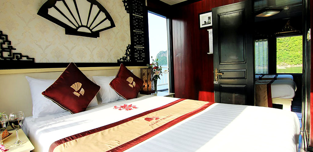 View from Halong Bay luxury ship cabin