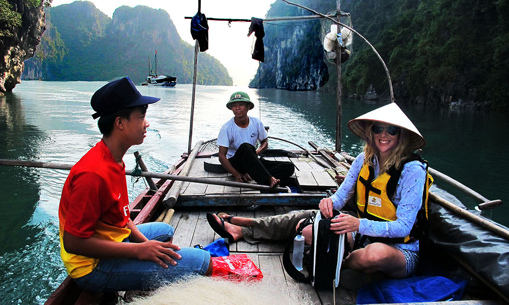 Visiting fisherman on Halong Bay