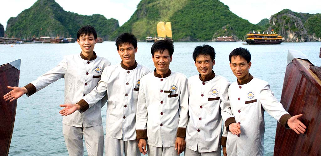 Crew on Halong Bay luxury cruise