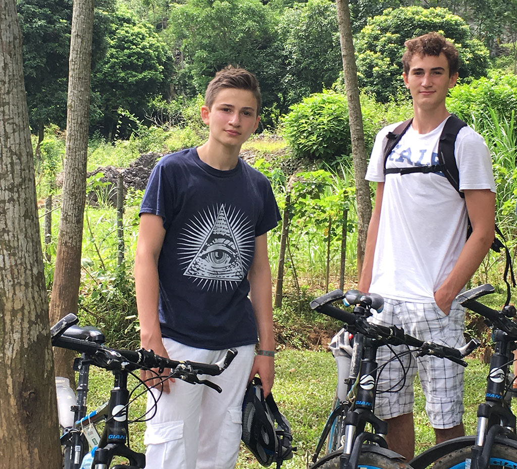 Boys on a family bicycle tour in Mai Chau, Vietnam