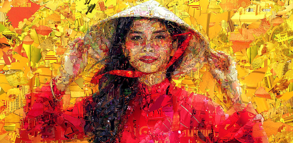 Mosaic artwork of Vietnamese girl in conical hat