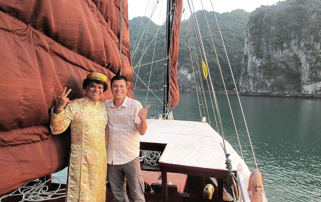 Enjoying a private cruise on Halong Bay, Vietnam