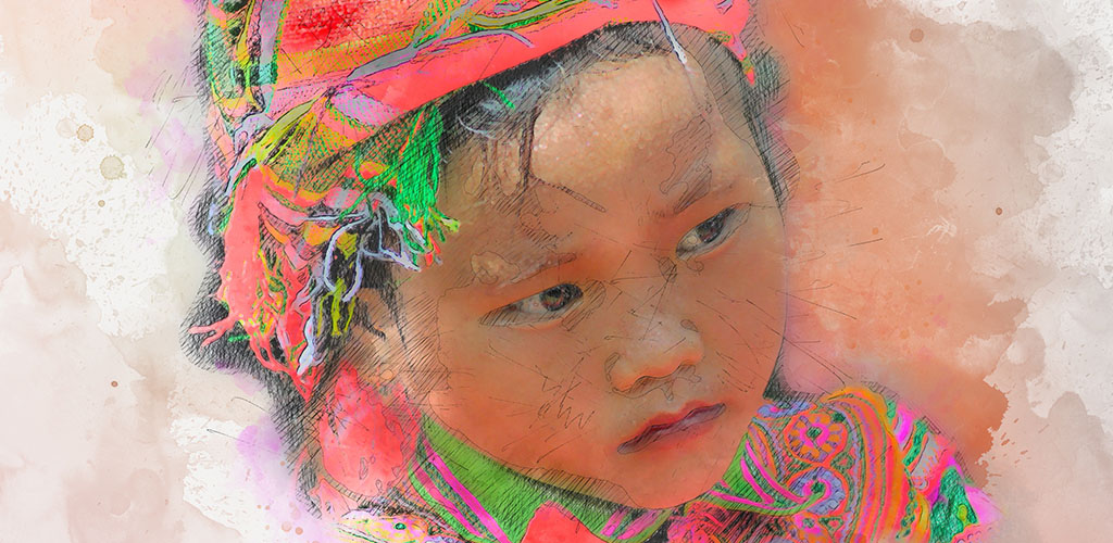 Water color artwork of traditional hill tribe child in Vietnam