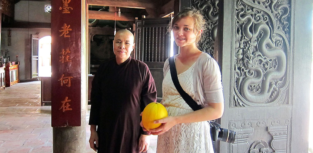 Visiting with monk in Hue, Vietnam