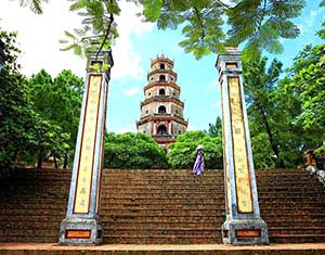 steps at the Thien Mu Pagoda in Hue, Vietnam