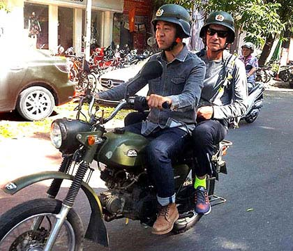 Vintage Russian motorcycle tour of the Old Quarter, Hanoi, Vietnam
