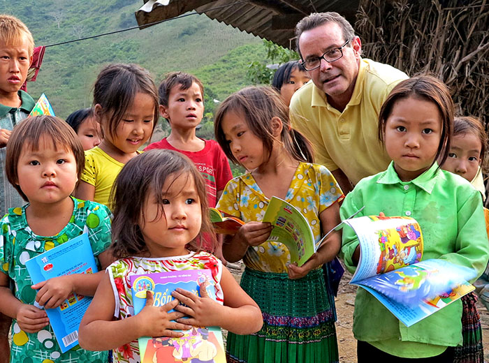 Donating books at hilltribe village in north Vietnam