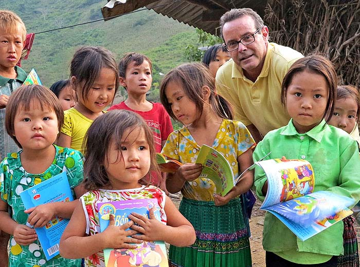 Donating books in rural  Vietnam school