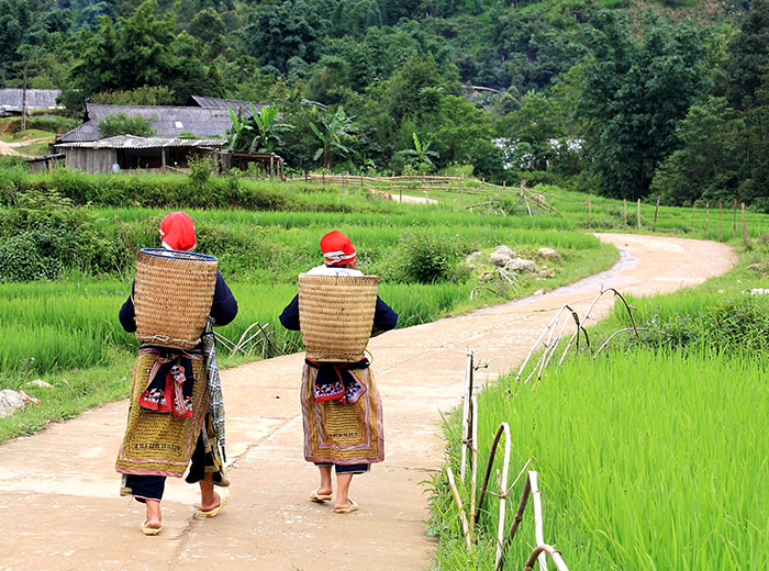 Hill tribe women walking in north Vietnam village