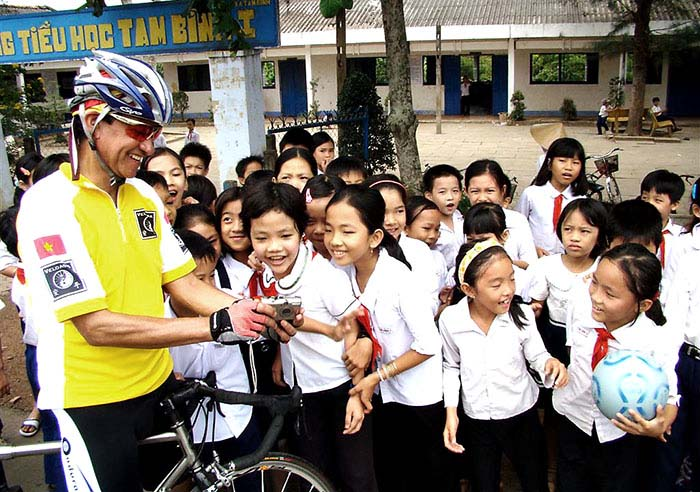 School visit during Mekong Delta biking tour