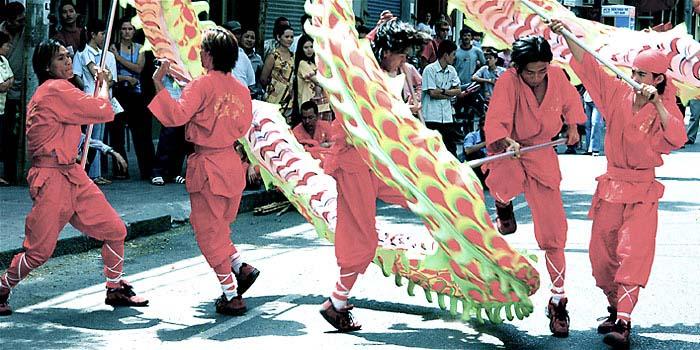 Dragon dancers during Vietnamese Tet in Hanoi