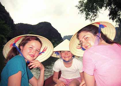 Family boating in Vietnam