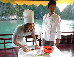 Cooking lesson for kids on Halong Bay