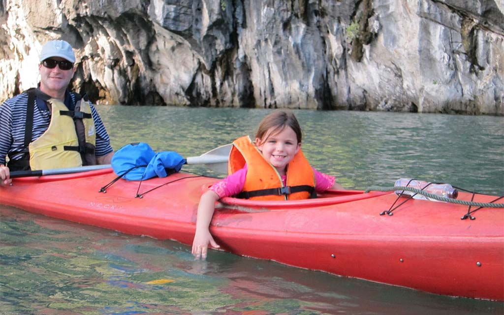 Kayaking with kids on Halong Bay, Vietnam
