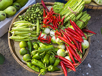 Vietnamese cooking ingredients - chili, ocre, peppers
