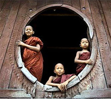 Novice monks in Salay, Myanmar