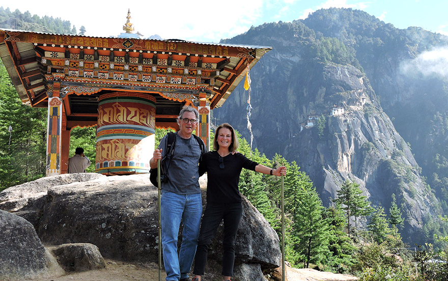 Couple on hiking tour in Bhutan