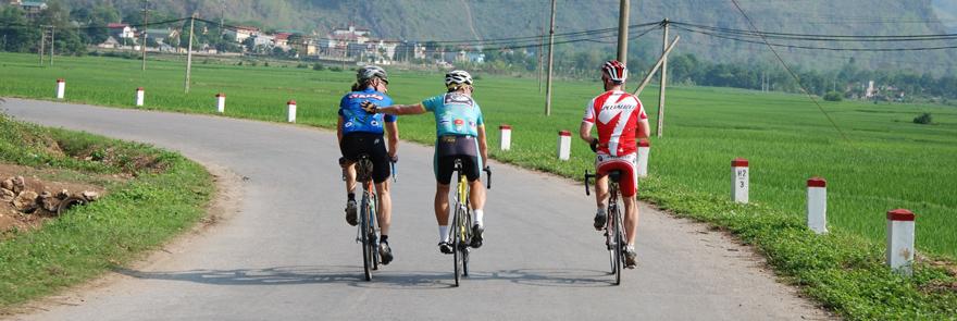 Biking into Mau Chau, Vietnam