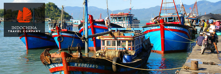 Nha Trang Vietnam colored fishing boat